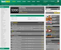 Bet365 Sportsbook-skärmdump